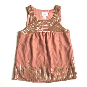 Loft Mauve Pink Sleeveless Top With Gold Sequins